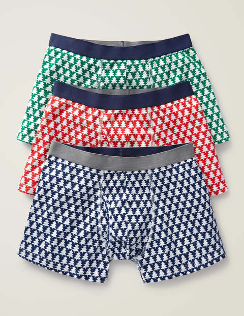 3 Pack Festive Jersey Boxers - Tree Geo Pack