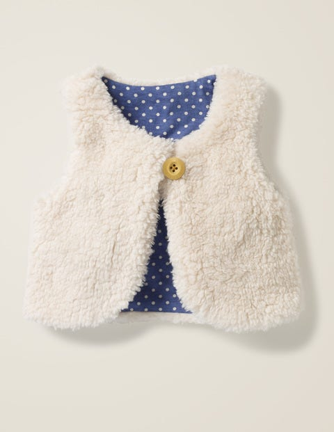 Reversible Fleecy Gilet - Ecru