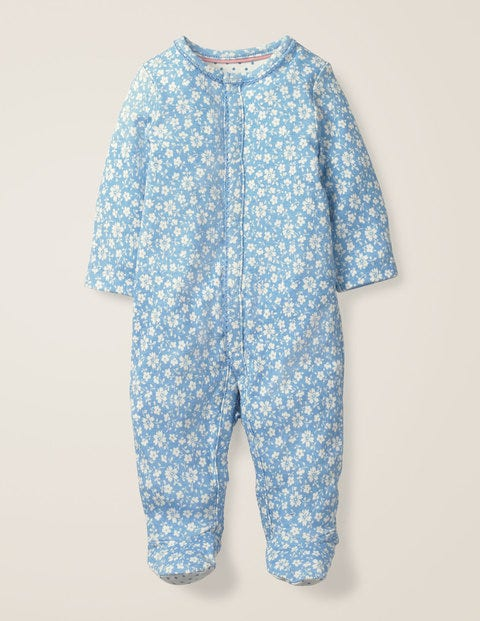 Printed Cosy Sleepsuit - Light Sky Blue Vintage Floral
