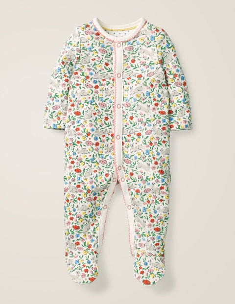 Printed Cosy Sleepsuit - Multi Wild Bunnies