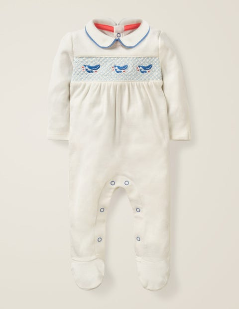 Smocked Whales Sleepsuit - Ivory Baby Whales