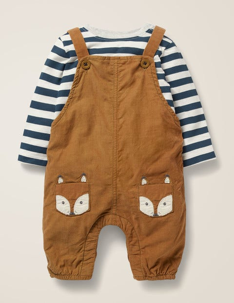 Cord Dungaree Play Set - Butterscotch Brown Foxes