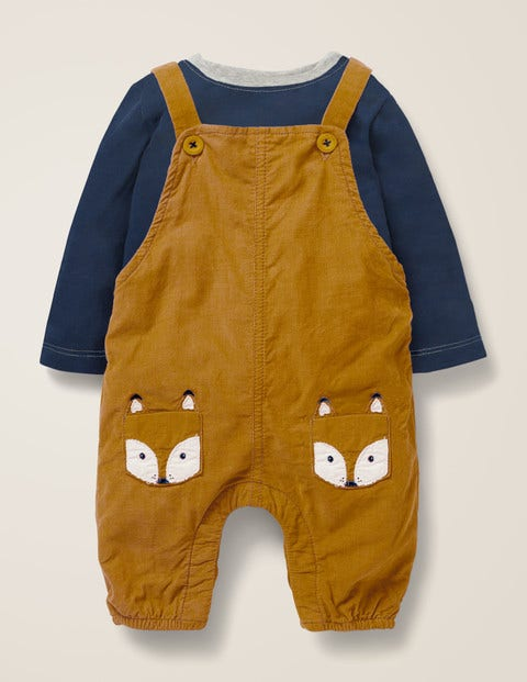 Cord Dungaree Play Set - Caramel Brown Fox