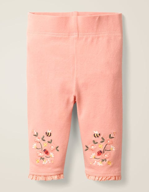 Floral Embroidered Leggings - Chalky Pink Floral