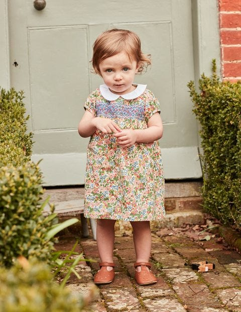 Smock Dress - Chalky Pink Flower Berry