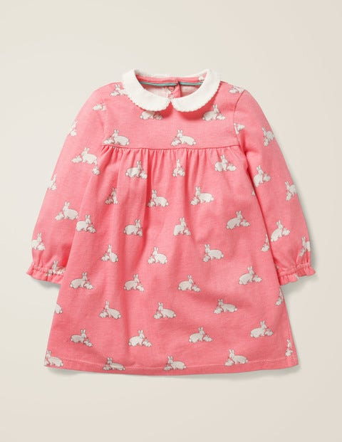 Collared Jersey Dress - Flamingo Pink Baby Bunnies