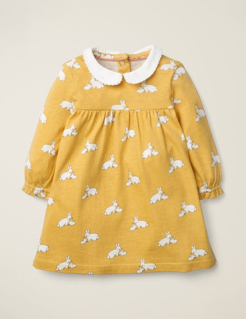 Collared Jersey Dress - Mustard Yellow Baby Bunnies