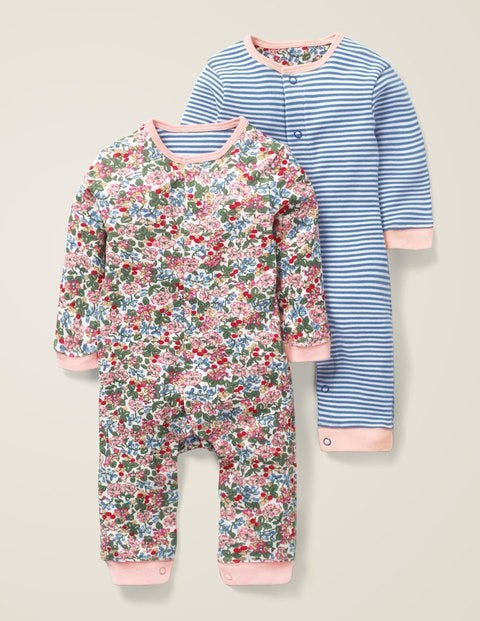 Floral Twin Pack Rompers - Chalky Pink Flower Berry