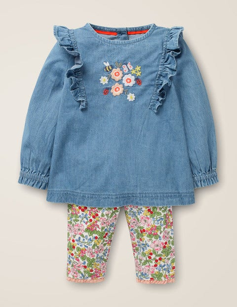 Woven Top Play Set - Chambray Floral Embroidery