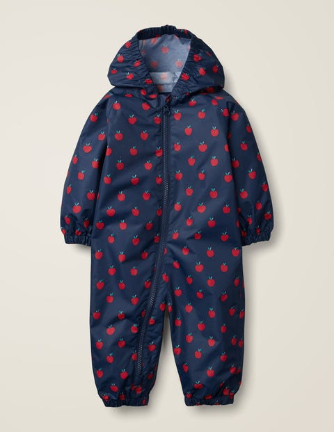 Apples Puddlesuit - College Blue Baby Apples