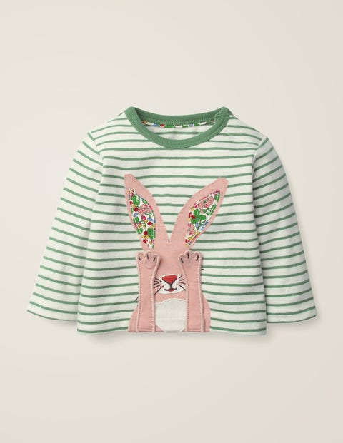 Novelty Animal T-Shirt - Ivory/Rosemary Green Bunny