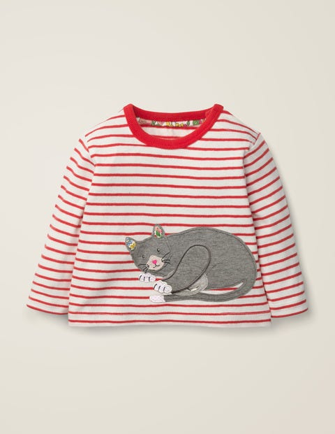 Novelty Animal T-Shirt - Ivory/Carmine Red Cat