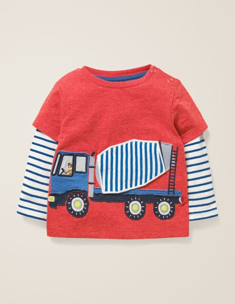 Novelty Vehicle T-Shirt - Poppadew Red Marl Cement Lorry