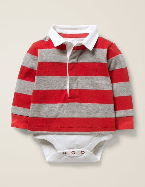 Rugby Top - Popperdew Red/Grey Marl