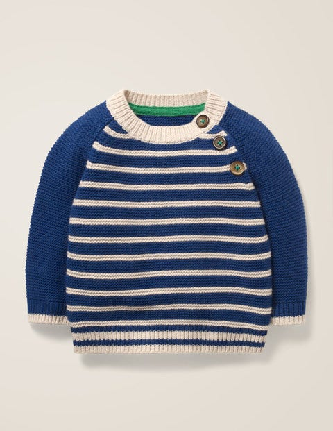 Fun Stripe Sweater - Navy/Ecru