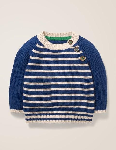 Baby Fröhlicher Pullover mit Streifen Navy  Boden, Navy blau |