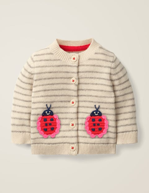 Nature Knitted Cardigan - Ecru Marl Ladybugs