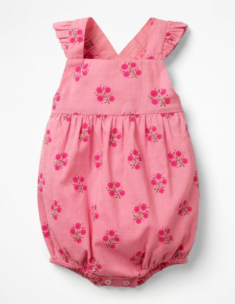 Frilly Bubble Romper - Flamingo Pink Woodblock
