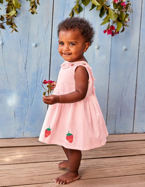Strawberry Appliqué Dress - Shell Pink Strawberries