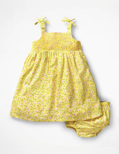 Flowery Smocked Woven Dress - Sunshine Yellow Primrose