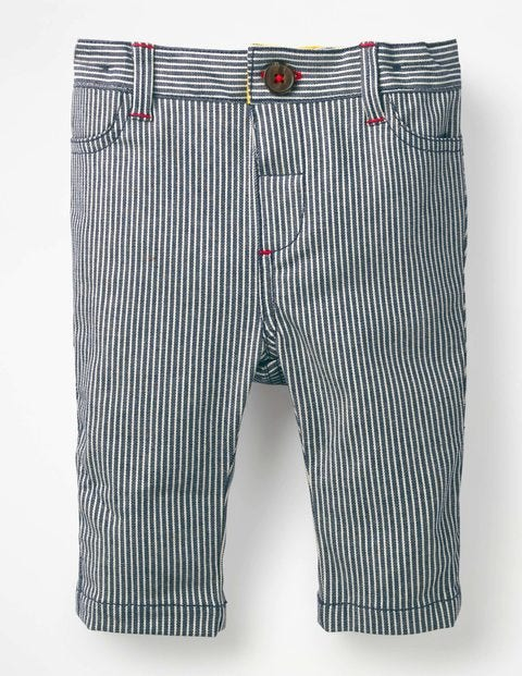 Colourful Chino Trousers - Indigo Blue Ticking