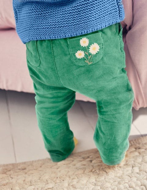 Pretty Pocket Cord Trousers - Jungle Green Daisy