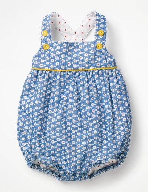 Floral Woven Romper - Elizabethan Blue Daisy Dot