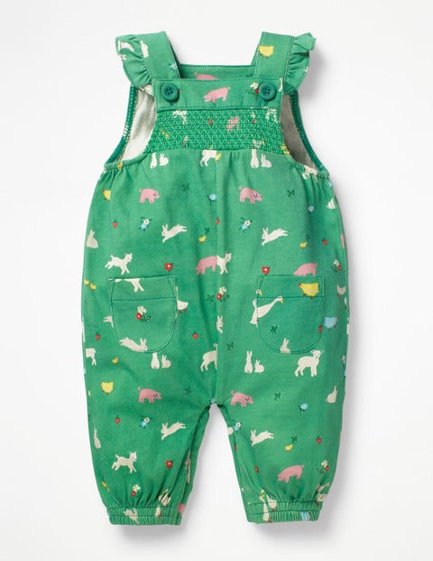 Smocked Jersey Dungarees - Jungle Green Farm