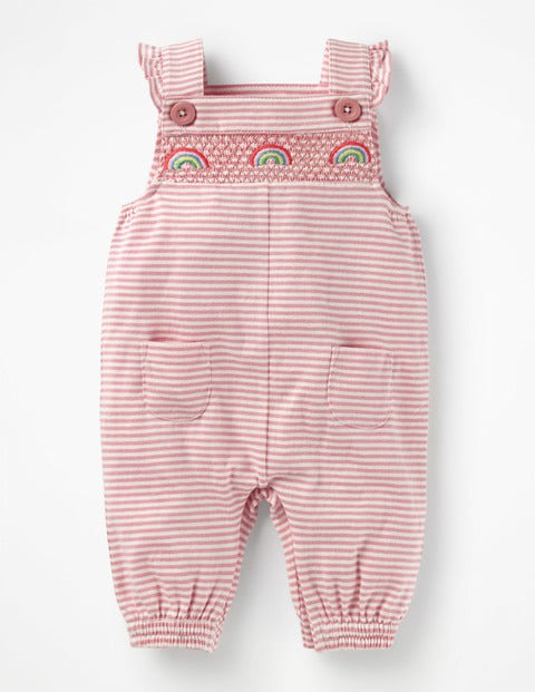 Smocked Jersey Overalls - Ivory/Almond Blossom Pink
