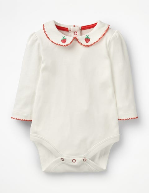 Supersoft Collared Bodysuit - Ivory Jam Red Strawberry