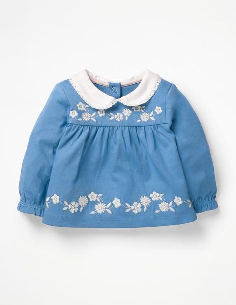 Embroidered Smock Top - Elizabethan Blue