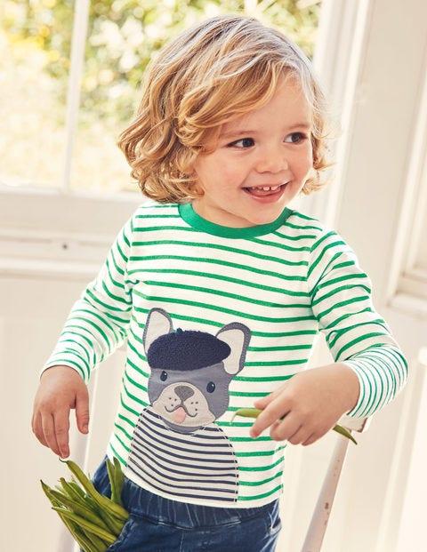 Big Appliqué T-Shirt - Ivory/Astro Green Bulldog