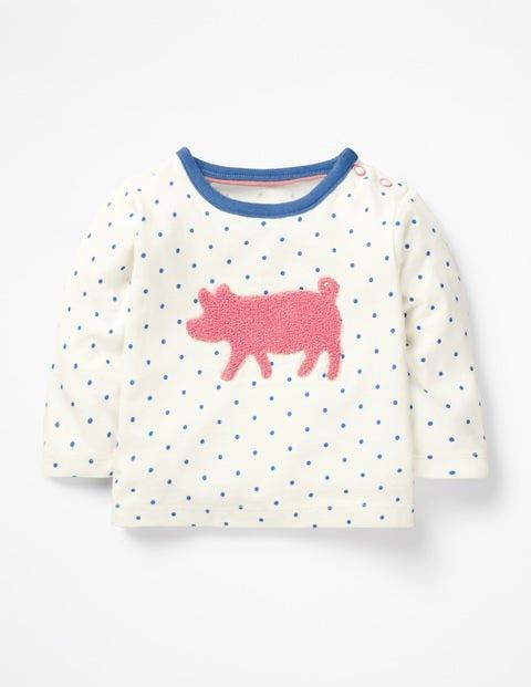 Farmyard Bouclé T-Shirt - Lake Blue Pin Spot Pig