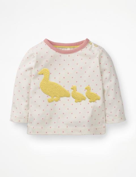 Bouclé-T-Shirt Bauernhof - Mandelblütenrosa/Pünktchen, Ente