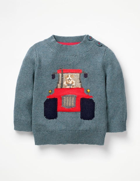 Fun Knitted Sweater - Lagoon Blue Tractor