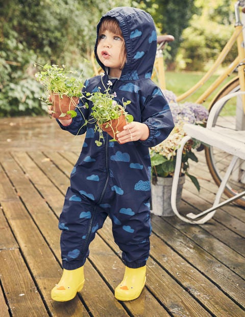 Clouds Waterproof Puddlesuit - College Blue Clouds