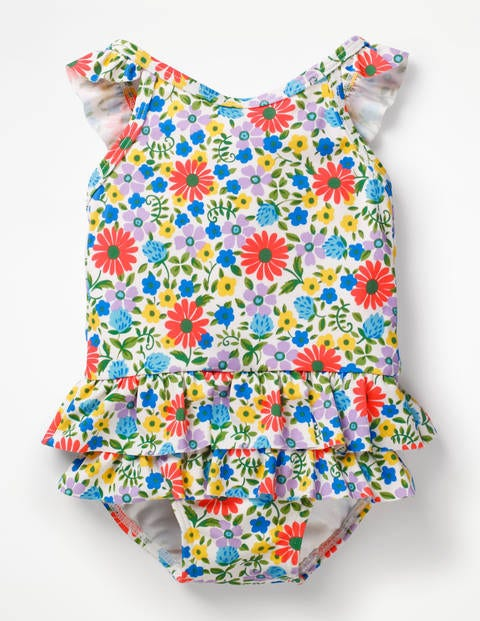 Pretty Frill Swimsuit - Blue Oasis Jolly Floral