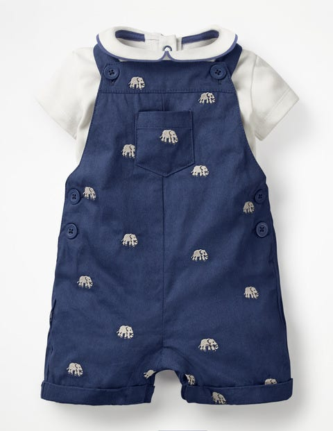 Dungaree And Body Set - Shale Grey Elephant Embroidery