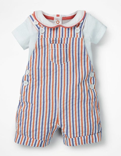 Overall And Bodysuit Set - Multi Ticking