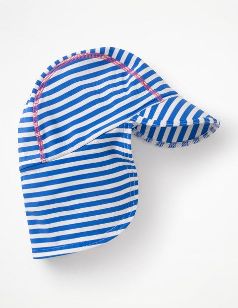 Stripy Swim Hat - Blue Oasis/Ivory