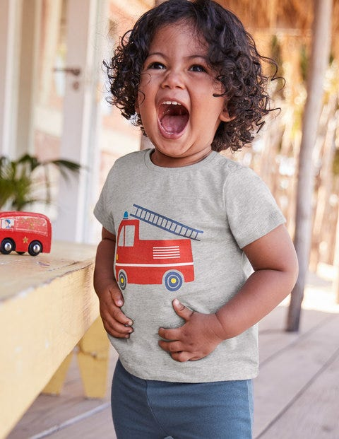Fun Printed T-Shirt - Grey Marl Fire Engine