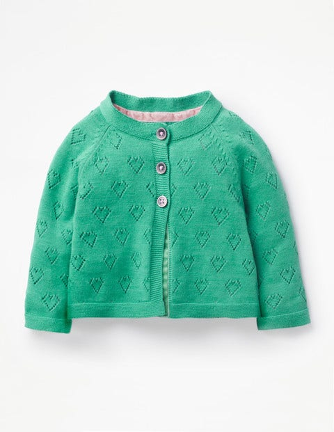 Lightweight Pointelle Cardigan - Jungle Green