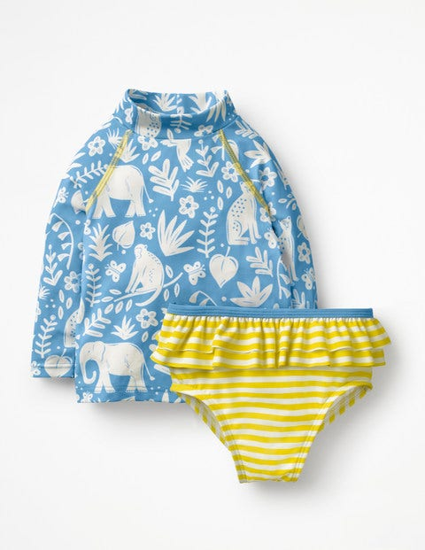 Rash Vest And Pant Set - Warm Blue Indian Garden