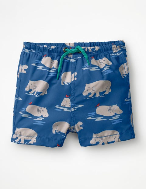 Baby Swim Trunks - Lake Blue Baby Hippos