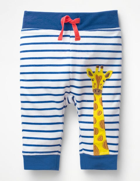 Appliqué Patch Pants - White/Duke Blue Giraffe