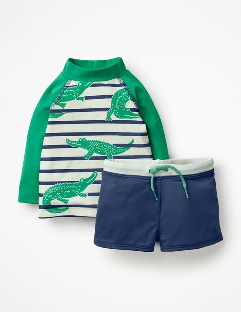 Rash Vest And Pant Set - Deep Sea Blue Crocodiles