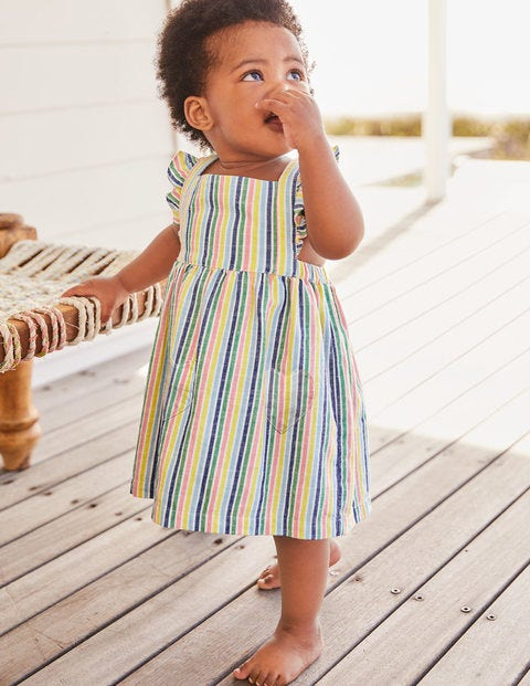 Ruffly Pinafore Dress - Multi Candy Stripe
