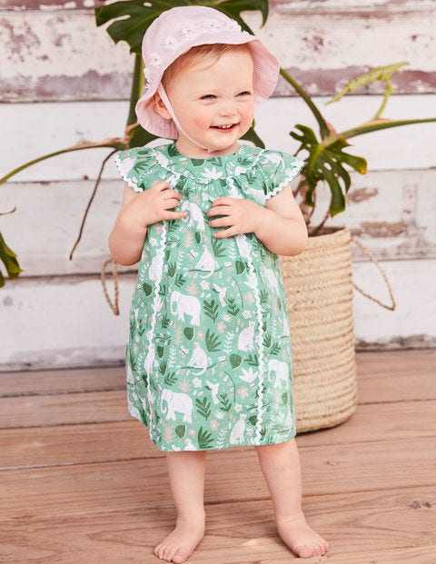 Tropical Printed Dress - Turtle Green Indian Garden