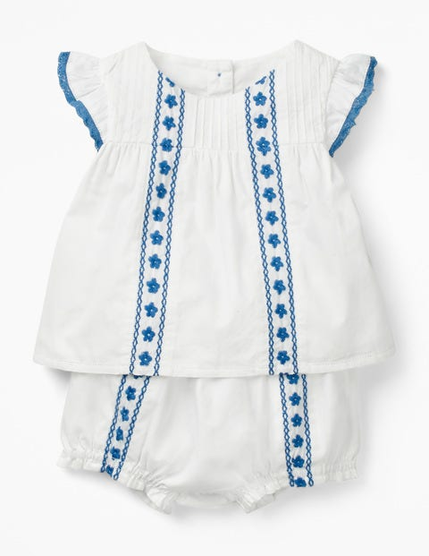 Sunny Days Woven Play Set - White Floral Embroidery