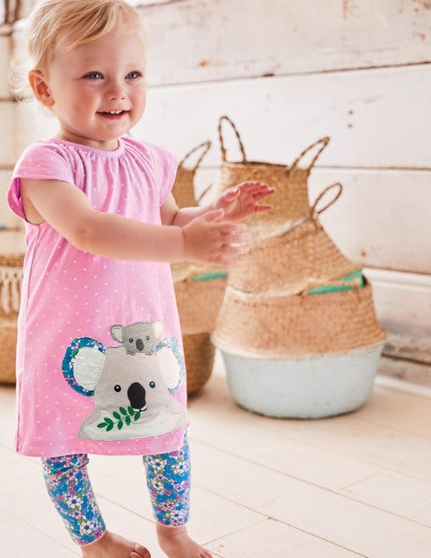 Big Animal Appliqué Dress Set - Parasol Pink Koalas